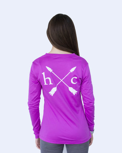 Women's Long Sleeve Essential Pocket Tee - Ultraviolet