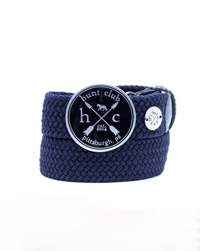 The Black Hunt Buckle Belt - Navy Strap w/ Black Leather