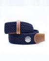 The Navy Hunt Buckle Belt - Navy Strap w/ Brown Leather