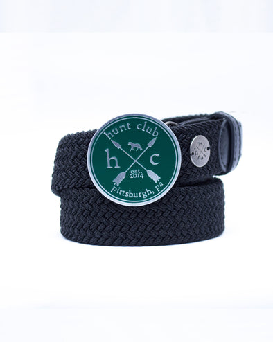The Emerald Hunt Buckle Belt - Black Strap w/ Black Leather