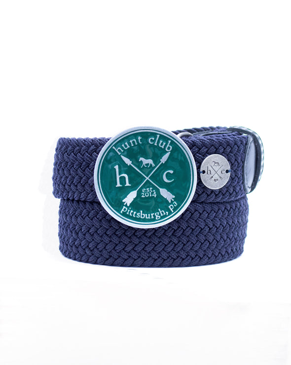 The Emerald Hunt Buckle Belt - Navy Strap w/ Black Leather
