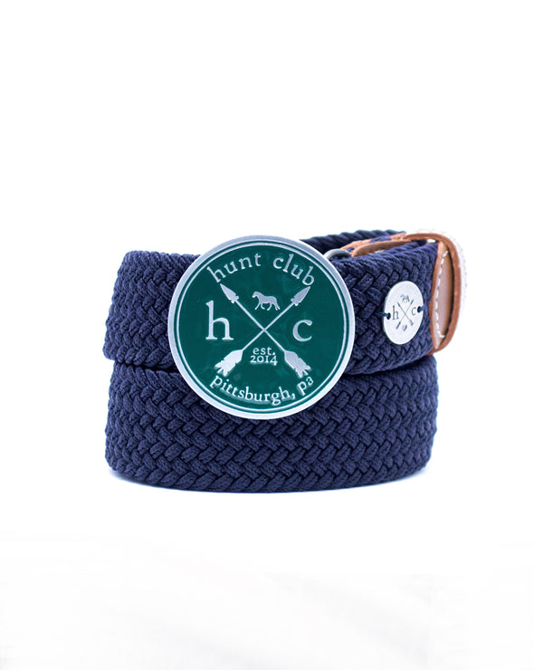 The Emerald Hunt Buckle Belt - Navy Strap w/ Brown Leather
