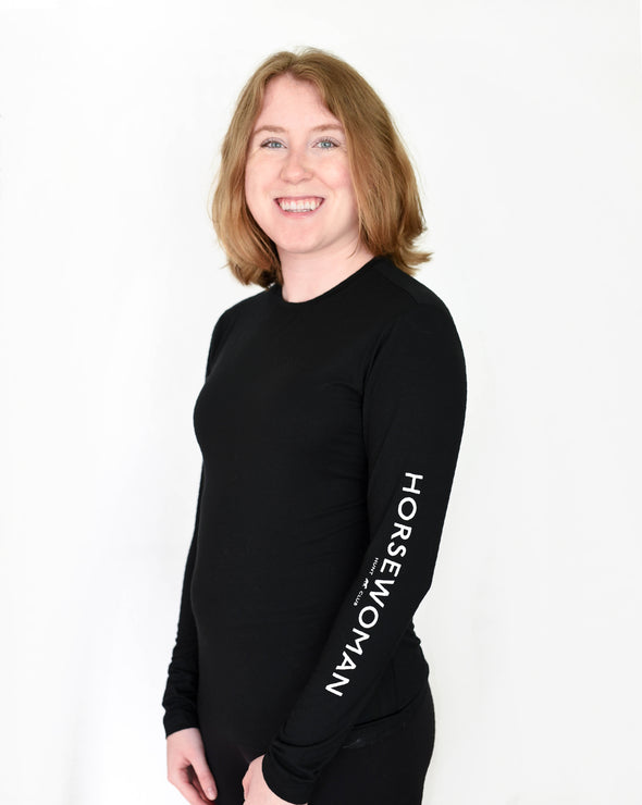 Horsewoman Long Sleeve Bamboo Tee - Black
