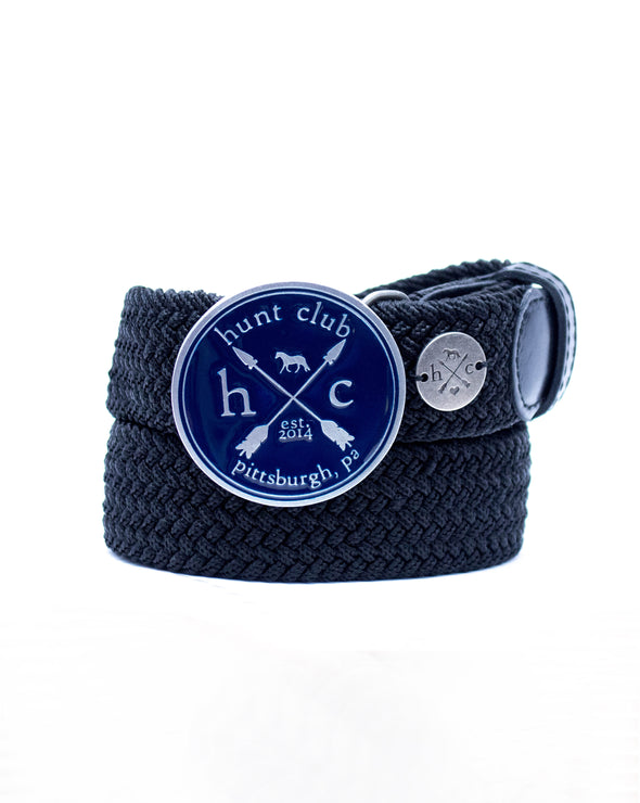 The Navy Hunt Buckle Belt- Black Strap w/ Black Leather