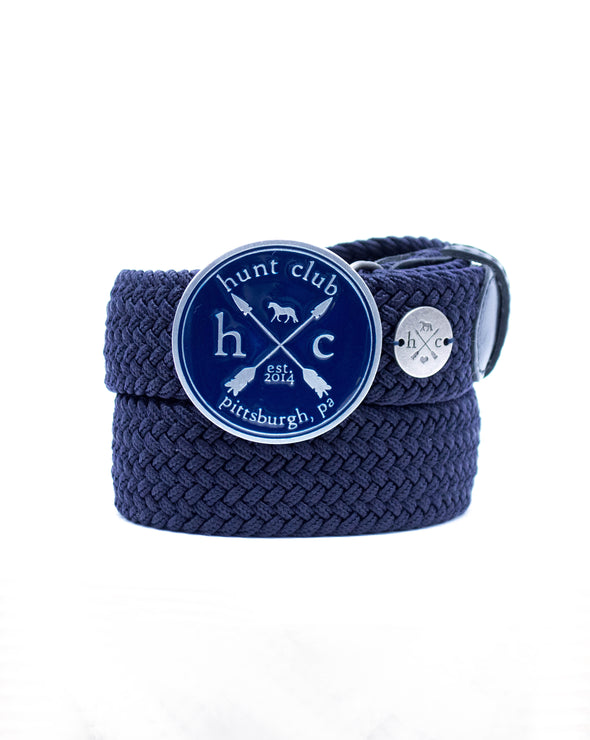 The Navy Hunt Buckle Belt - Navy Strap w/ Black Leather