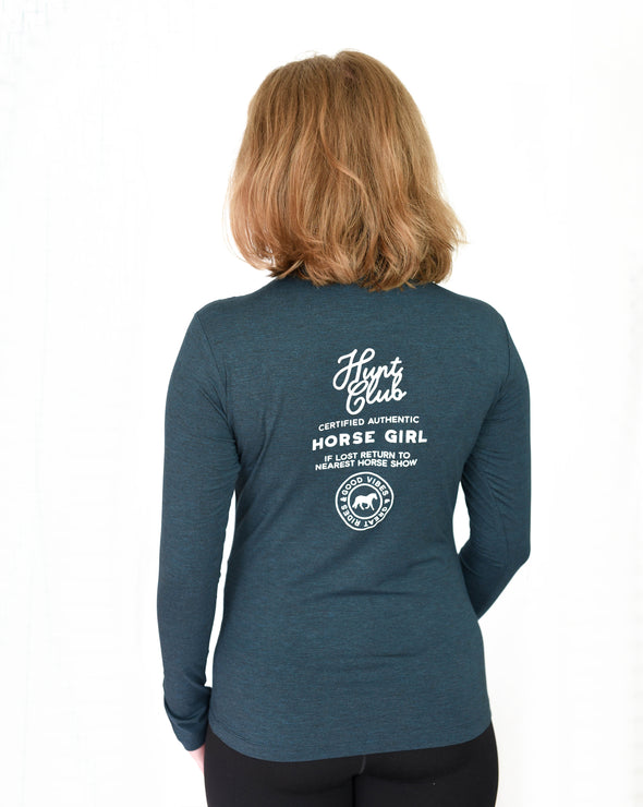 Horse Girl Long Sleeve Bamboo Tee - Pacific