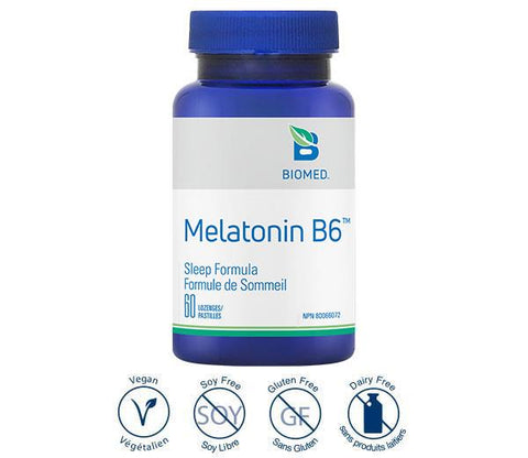 Melatonin + B6 60 lozenges - Sleep Support, Antioxidant
