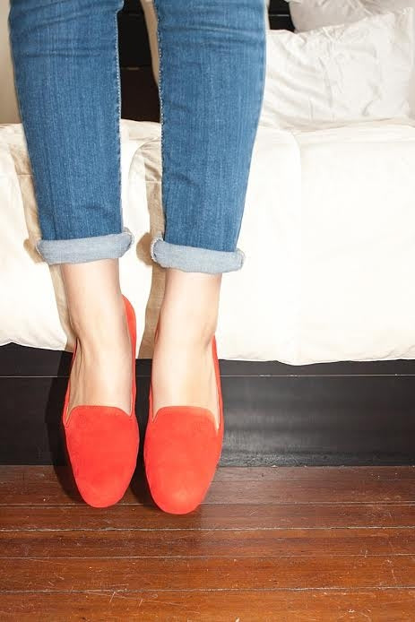 red_flats_slipon_ladies_women_classic_suede_premium_nonslip_slipresistant