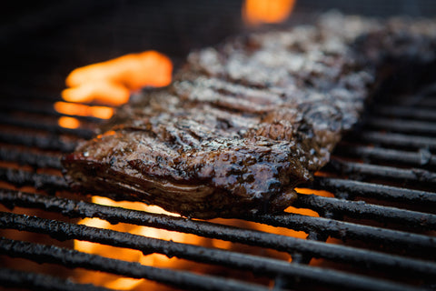 Grilling steak with espresso balsamic marinade