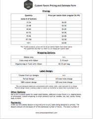 Favor Pricing and Estimate Form