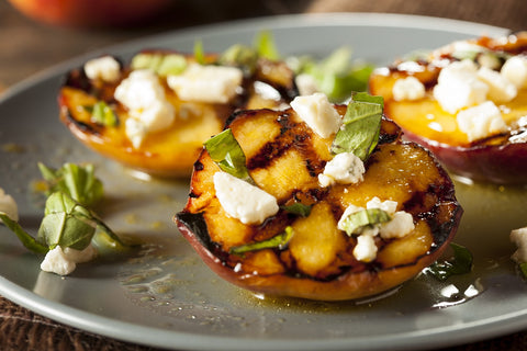 Grilled Peaches with Feta and Basil
