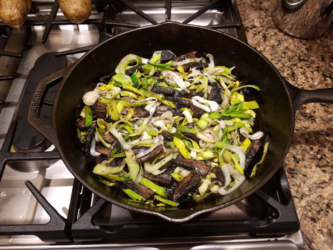 Leek and Mushroom Saute with Lemon Balsamic by New Canaan Olive Oil