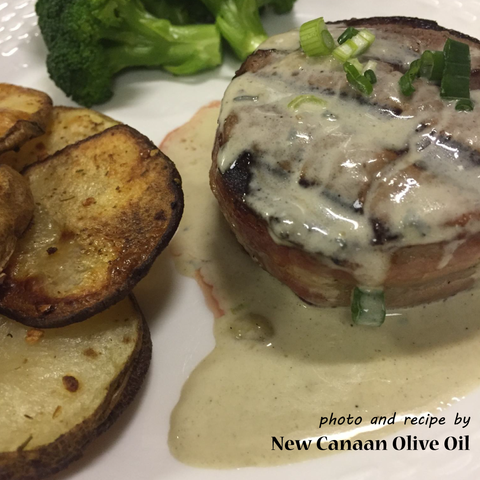 Filet Mignon with Roquefort Sauce recipe by New Canaan Olive Oil in CT