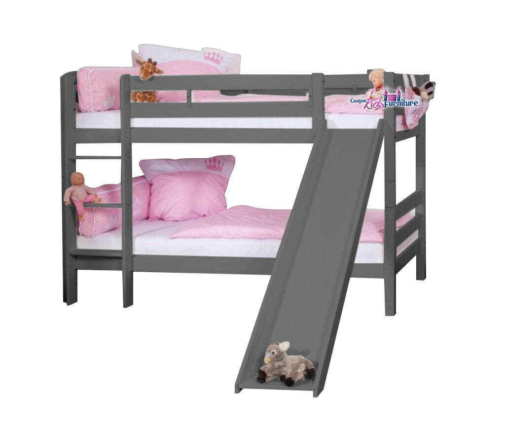 Our Twin Bunk Bed with Slide Now Available in Gray