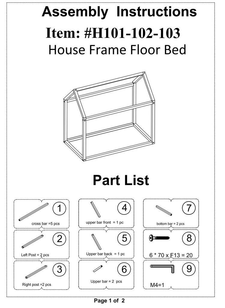 House Frame Floor Bed Assembly Instructions