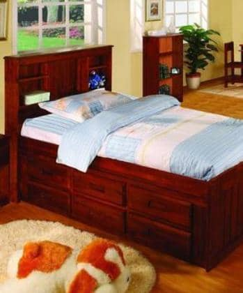 Addison Captains Bed with Three Drawers, Bookcase Headboard, and Trundle Custom Kids Furniture