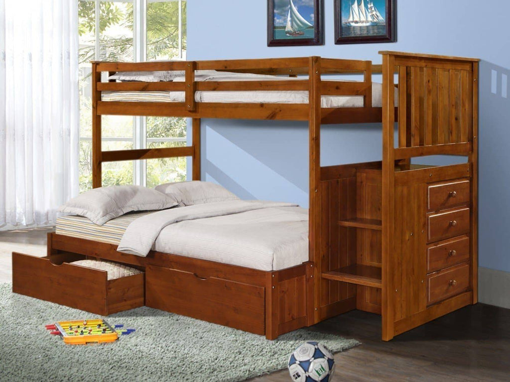 Alexander Bunk Bed with Storage Drawers, Stairs, and Built-in Dresser in Twin over Full Custom Kids Furniture