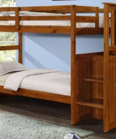 Alexander Espresso Bunk Bed with Stairs Custom Kids Furniture