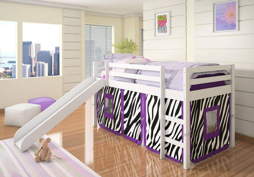 Alexis Kids Loft Bed with Slide and Purple Zebra Tent Custom Kids Furniture