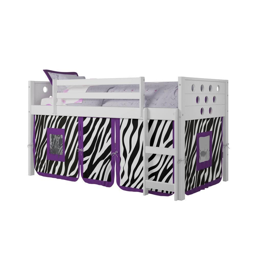 Aria Loft Bed with Slide & Zebra Tent Custom Kids Furniture