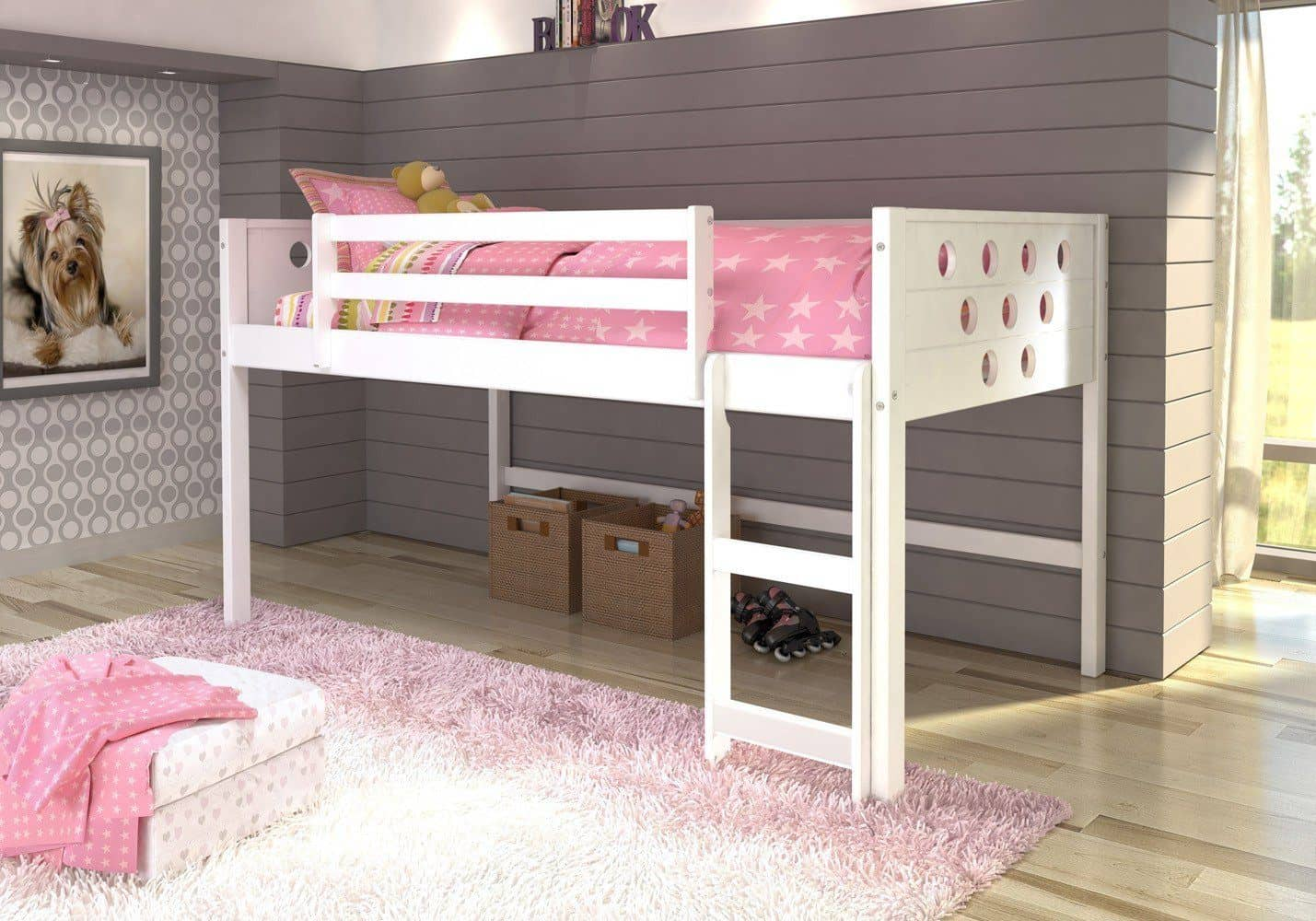 Picture of: Aria Twin White Loft Bed With Slide