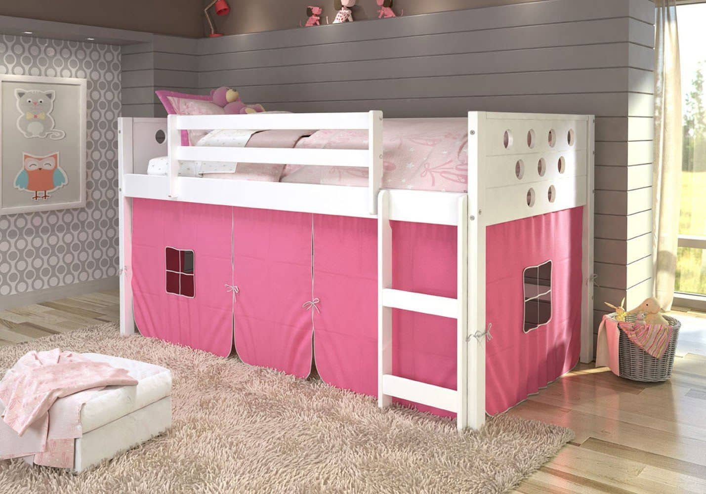 Picture of: Aria White Loft Bed With Pink Tent Custom Kids Furniture