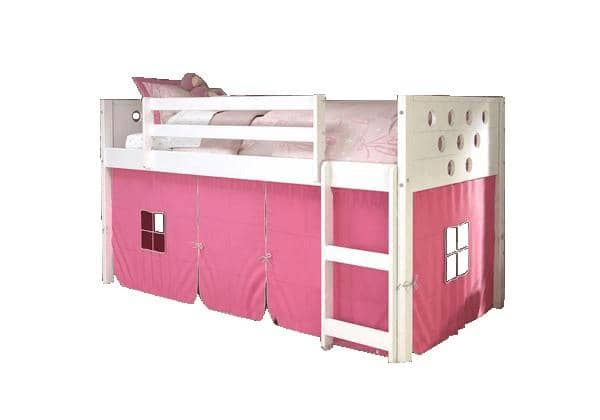 Aria White Loft Bed with Pink Tent Custom Kids Furniture