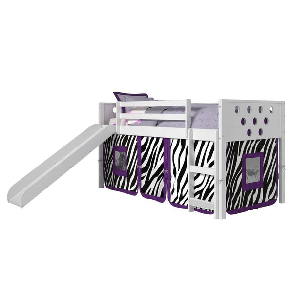 Aria White Loft Bed with Zebra Tent Custom Kids Furniture