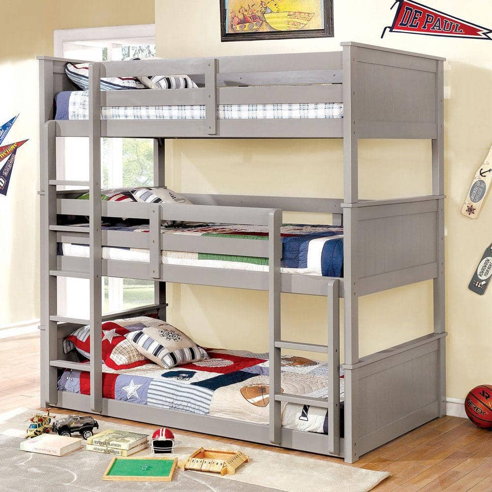 Aubrey Grey Triple Bunk Bed in Twin or Full Custom Kids Furniture