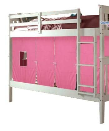 Aurora White Bunk Bed for Girls with Tent Custom Kids Furniture