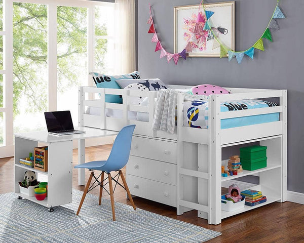 Ava Kid's Furniture Set with Twin Loft Bed, Desk, Dresser & Bookcase in One Custom Kids Furniture