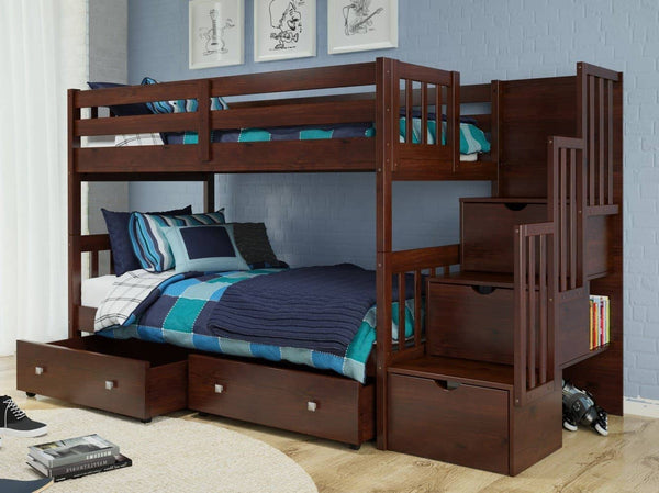 Bo Twin over Twin Bunk Beds with Stairs and Shelves Custom Kids Furniture