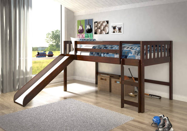 Caleb Dark Wood Loft Bed with Slide Custom Kids Furniture
