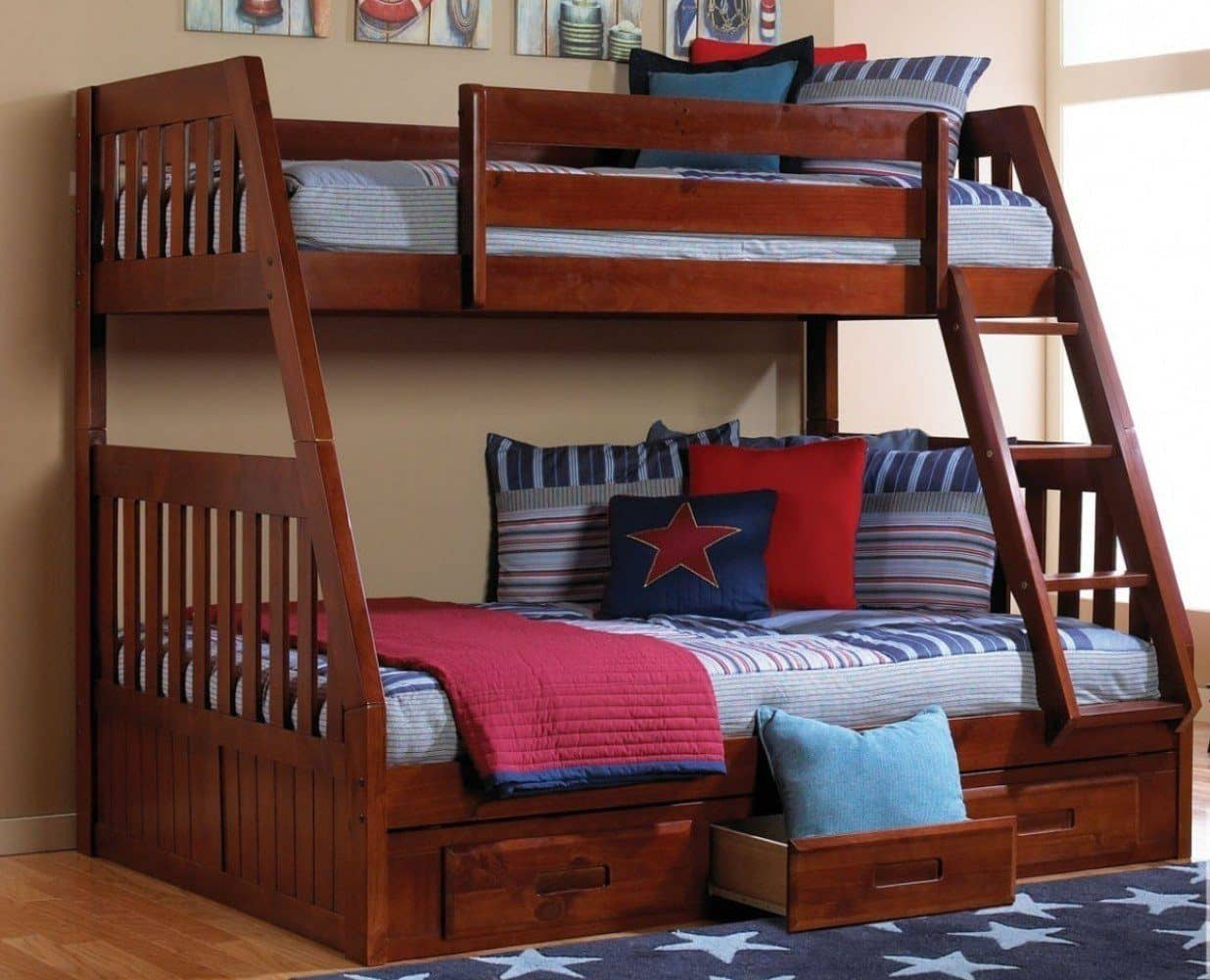 Image of: Charlie Twin Over Full Bunk Bed With Storage
