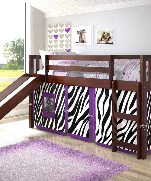Chloe Loft with Slide & Purple Zebra Tent Custom Kids Furniture