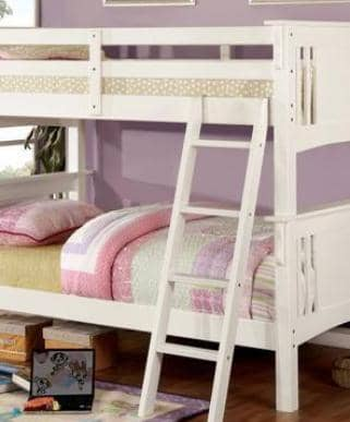 Christian White Twin over Twin Bunk Bed Custom Kids Furniture