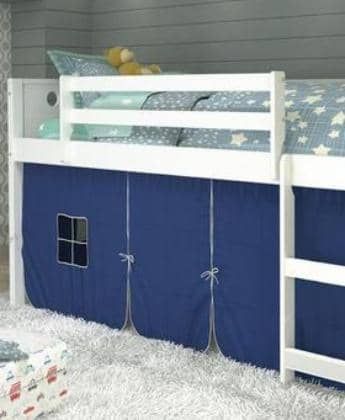 Christopher White Loft Bed with Blue Tent Custom Kids Furniture
