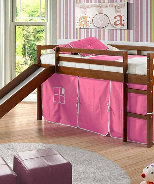 Clara Loft Bed with Slide & Pink Tent Custom Kids Furniture