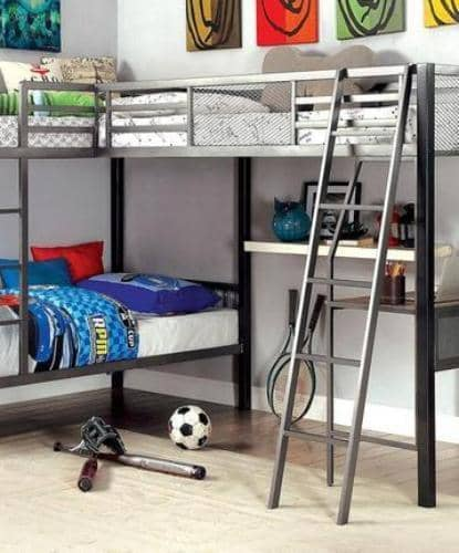 Declan Metal Triple Bunk Bed with Desk Custom Kids Furniture