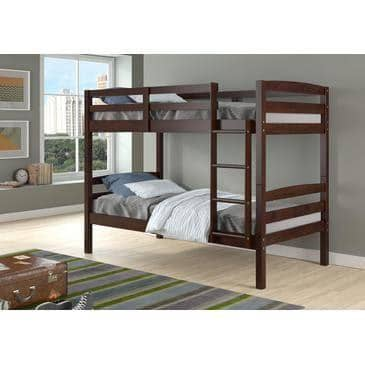 Dylan Cappuccino Bunk Bed for Girls or Boys Custom Kids Furniture