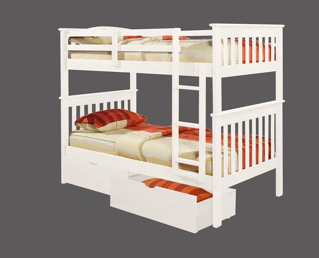 Eleanor White Bunk Bed with Storage Custom Kids Furniture