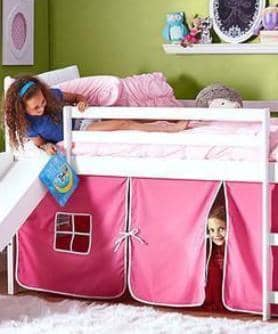 Elena Loft Bed with Slide and Pink Tent Custom Kids Furniture