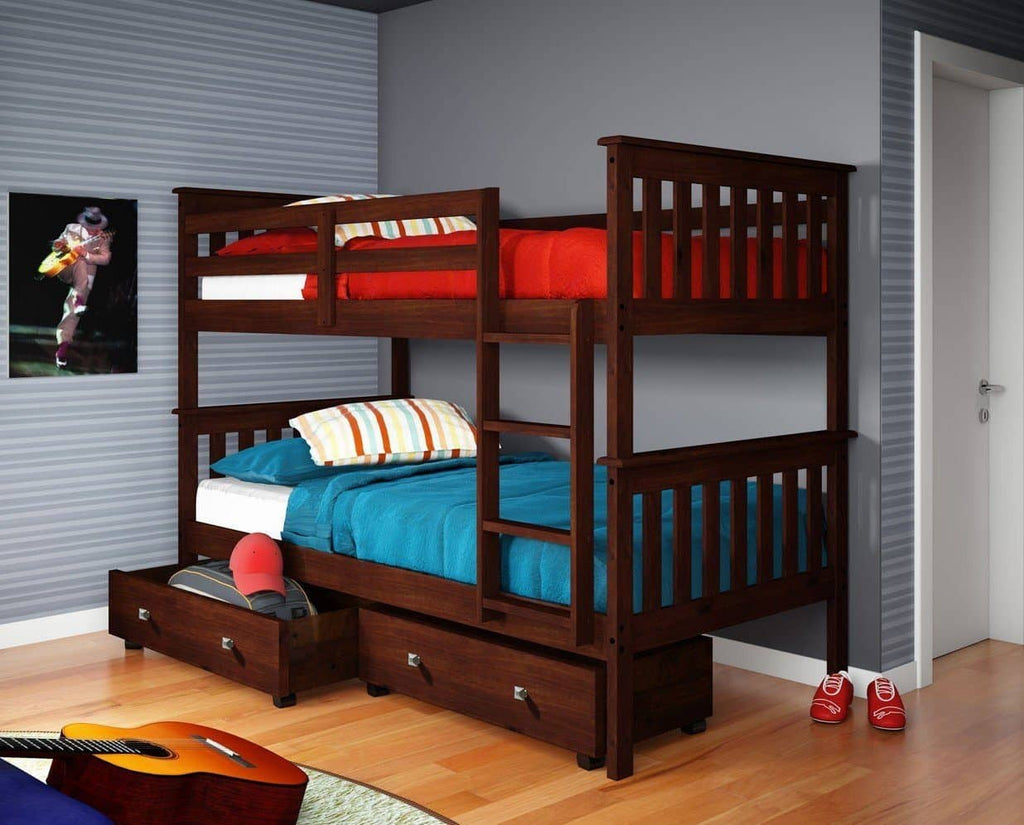 Elijah Cappuccino Bunk Bed with Storage Drawers Custom Kids Furniture