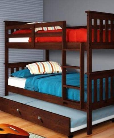 Elijah Cappuccino Bunkbed with Trundle Custom Kids Furniture