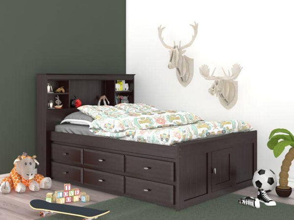 Elizabeth Espresso Full Size Captains Bed with Storage Drawers Custom Kids Furniture