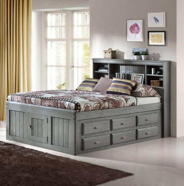 Elizabeth Gray Full Size Captains Bed with Storage Drawers Custom Kids Furniture