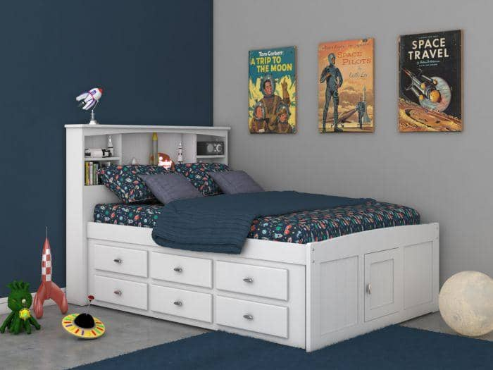 Elizabeth White Full Size Captains Bed with Storage Drawers Custom Kids Furniture
