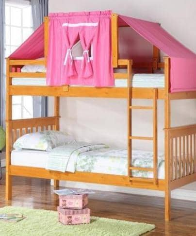 Ella Honey Bunk Bed with Pink Tent Custom Kids Furniture