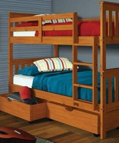 Ella Honey Twin Bunkbed with Storage Custom Kids Furniture