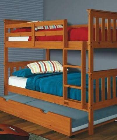 Ella Honey Twin Bunkbed with Trundle Custom Kids Furniture